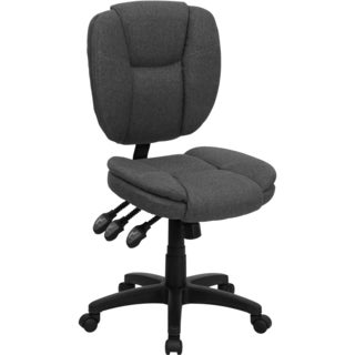 Cornel Armless Grey Fabric Multi Functional Adjustable Swivel Office Chair