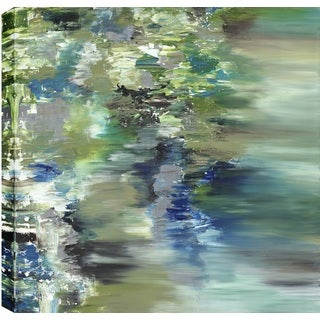 Hobbitholeco., Sanjay Patel, Pond Reflections I Abstract, Hand Applied Gel Brush Finish Canvas