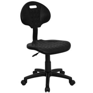 Pocan Black Metal Adjustable Armless Swivel Office Chair