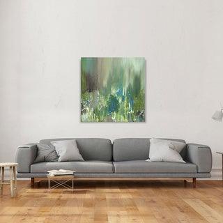 Hobbitholeco., Sanjay Patel, Sunny Pond II Abstract, Hand Applied Gel Brush Finish Canvas