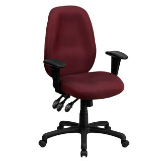 Fay Burgundy Multifunctional Executive Swivel Office Chair With Height-adjustable Arms