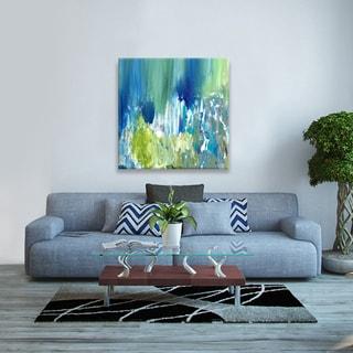 Hobbitholeco., Sanjay Patel, Bright Pond II Abstract,Hand Applied Gel Brush Finish Canvas
