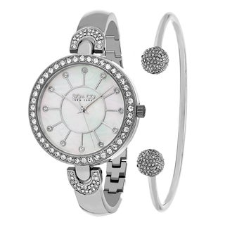 SO&CO New York Women's Madison Quartz Bracelet Watch With Bangle Gift Set