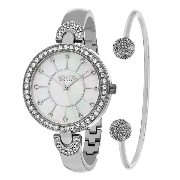 SO&CO New York Women's Madison Quartz Bracelet with Bangle Gift Mothers Day Gift Watch Set