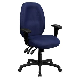 Fay Navy Blue Fabric Multi-functional Executive Swivel Office Chair with Height Adjustable Arms
