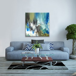 Hobbitholeco., Sanjay Patel, Rocky Pond II Abstract, Hand Applied Gel Brush Finish Canvas