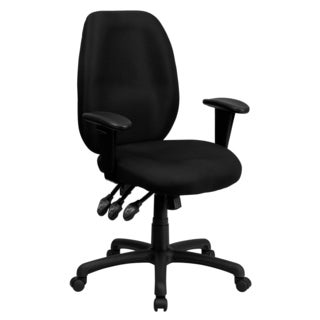 Fay Black Fabric Multi-functional Executive Swivel Office Chair With Height-adjustable Arms