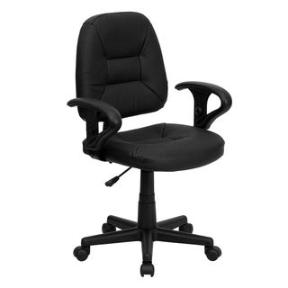 Ranlor Black Leather/Metal/Nylon Ergonomic Swivel Office Chair with Height Adjustable Arms