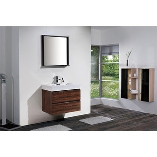 KubeBath Bliss 30-inch Single Sink Bathroom Vanity (Walnut - Walnut Finish/Matte)