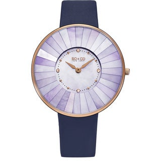 SO&CO New York Women's Quartz SoHo Mother of Pearl Leather Strap Watch