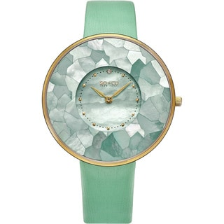 SO&CO New York Women's SoHo Quartz Mother of Pearl Green/Purple/Red Leather Strap Watch (Option: Green)