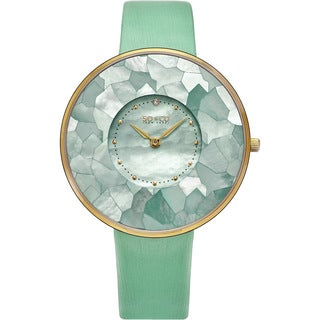 SO&CO New York Women's SoHo Quartz Mother of Pearl Green/Purple/Red Leather Strap Watch