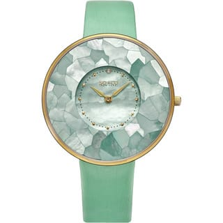 SO&CO New York Women's SoHo Quartz Mother of Pearl Green/Purple/Red Leather Strap Watch|https://ak1.ostkcdn.com/images/products/11915883/P18807271.jpg?impolicy=medium