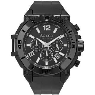 So&Co New York Men's Yacht Club Quartz Chronograph Black Rubber Strap Watch