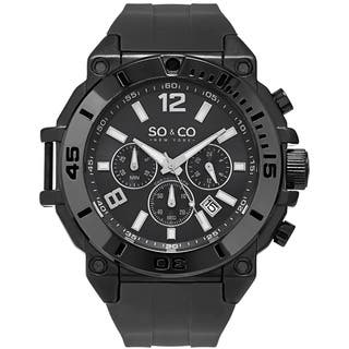So&Co New York Men's Yacht Club Quartz Chronograph Black Rubber Strap Watch|https://ak1.ostkcdn.com/images/products/11915887/P18807277.jpg?impolicy=medium