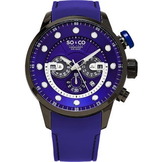 SO&CO New York Men's Monticello Quartz Chronograph Rubber Strap Watch