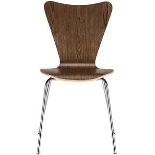 Light Society Edgemod Elgin Walnut Wood and Chrome Steel Dining Side Chair