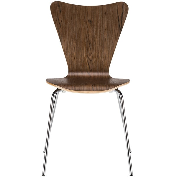 Poly and Bark Elgin Walnut Wood and Chrome Steel Dining Chair