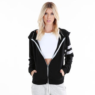 Nikibiki Women's Black/Grey Cotton/Polyester Activewear Striped-sleeve French-terry Jacket