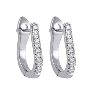 Beverly Hills Charm 10k White Gold 1/10ct TDW Diamond Hoop Earrings
