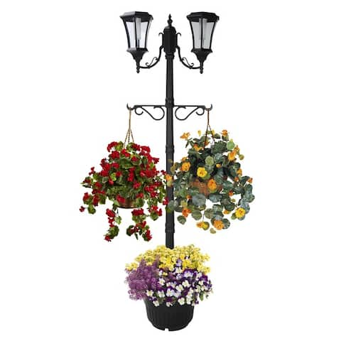 Martens Two Head Solar Lamp Post and Planter