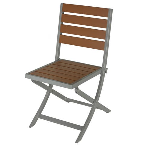 Cortesi Home Avery Silver/Teak Brown Aluminum/Plastic Outdoor Folding Chair