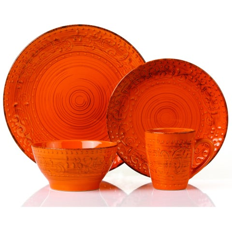 Lorren Home Trends Distressed Finish Orange Stoneware 16-piece Round Dinnerware Set