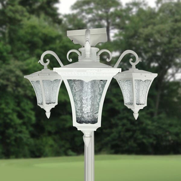 Vittoria Three Head Solar Lamp Post And Planter On
