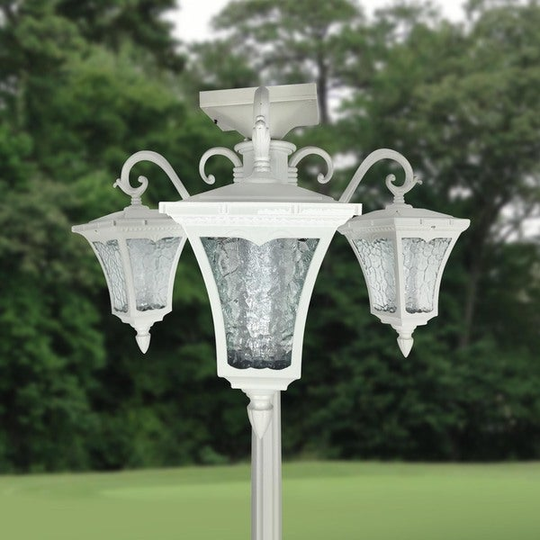 vittoria three head solar lamp post and planter free shipping today. Black Bedroom Furniture Sets. Home Design Ideas