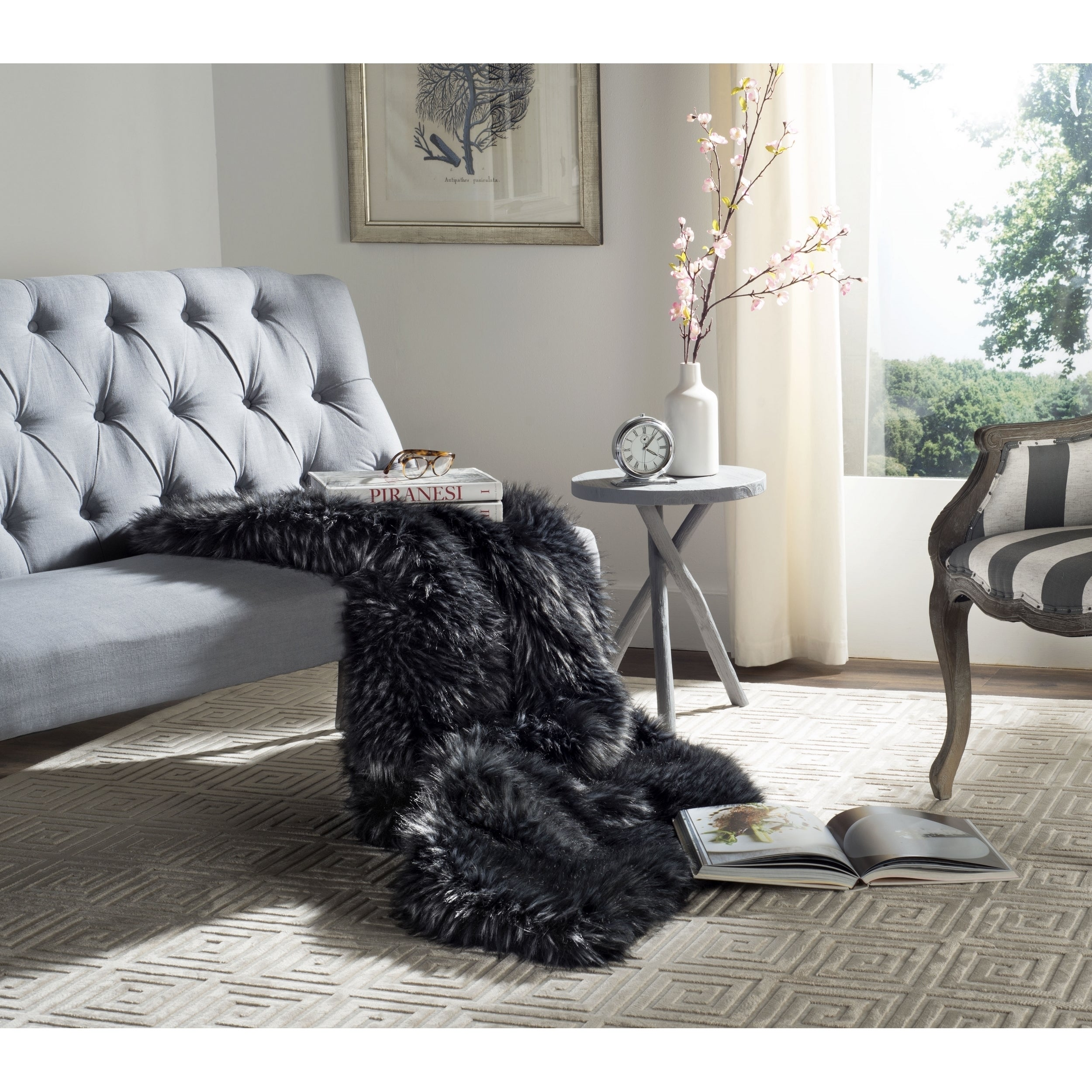 Faux Fur Sofa Throws Blue Wolf Faux Fur Throw With Pewter