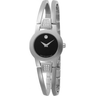 Movado Women's Amarosa Black/Silver Acrylic and Stainless Steel Diamond Watch