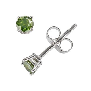 JewelMore 14k White Gold 1/3ct TDW Round-cut Green Diamond Stud Earrings