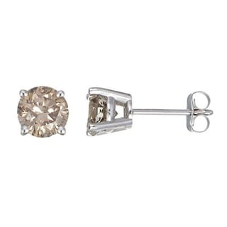JewelMore 14k White Gold 1/4ct TDW Round-cut Champagne Diamond Stud Earrings (I2-I3)