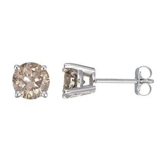 JewelMore 14k White Gold 1ct TDW Round-cut Champagne Diamond Stud Earrings (I2-I3)