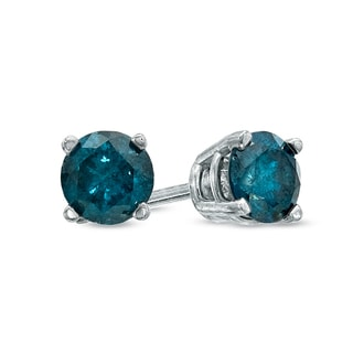 JewelMore 14k White Gold 1/4ct TDW Round-cut Blue Diamond Stud Earrings (I2-I3)