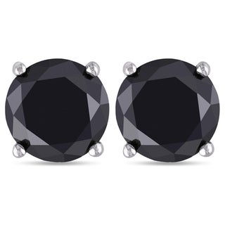JewelMore 14k White Gold 1/5ct TDW Black Diamond Stud Earrings