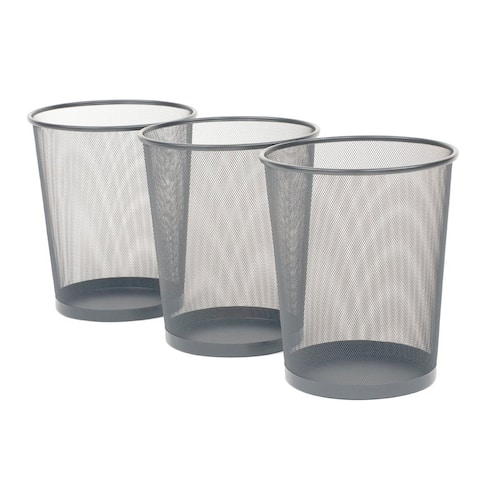 Seville Classics 6 Gal. Silver Round Mesh Trash Can Recycling Bin (3-Pack)