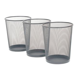 Seville Classics Silver Mesh Wastebasket (3-pack)