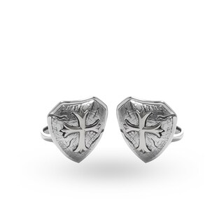Handmade Antiqued Sterling Silver Cross Shield Cuff Links (Indonesia)