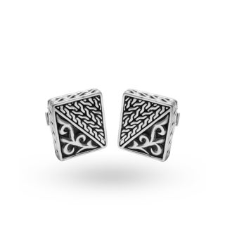 Handcrafted Antiqued Sterling Silver Rectangular Detailed Cuff Links (Indonesia)
