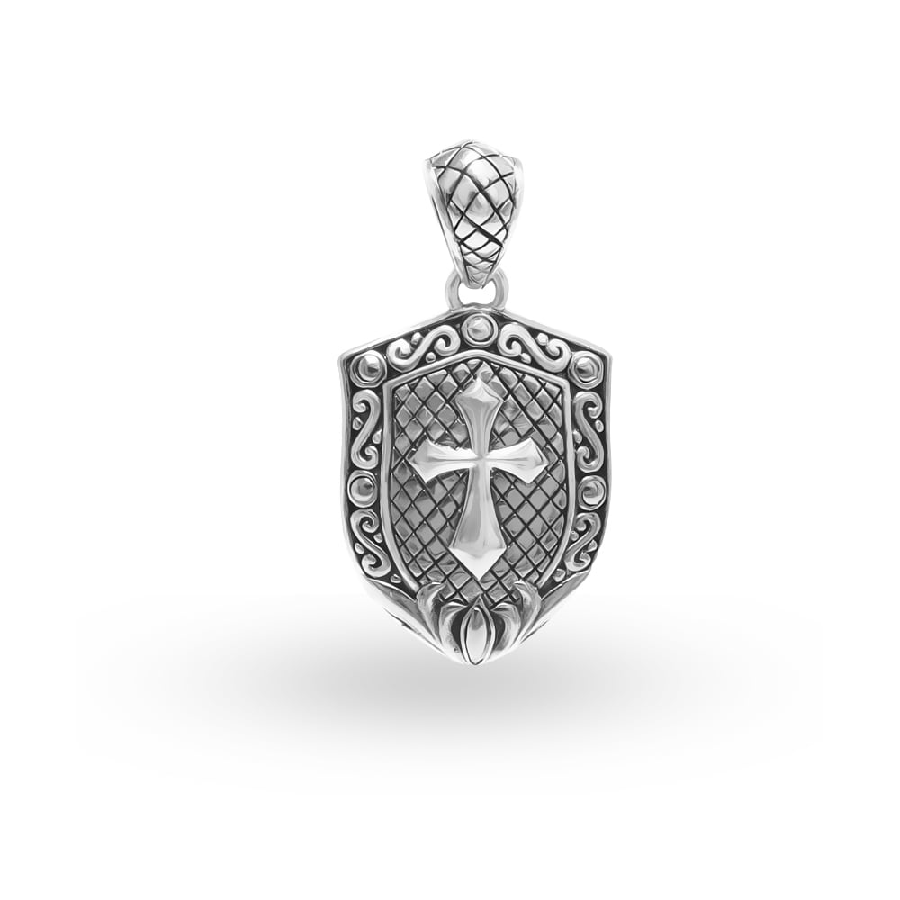 Handcrafted Sterling Silver Shield with Cross Pendant (In...
