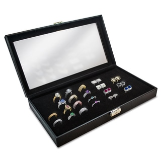 Glass Top Black 72-slot Ring Tray Jewelry Display Case