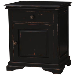 Bramble Co. Homestead 1-drawer Black Heavy Distressed Nightstand