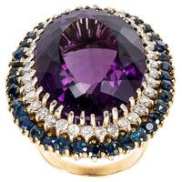 18k Yellow Gold 1 1/2ct TDW Amethyst Double Halo Estate Cocktail Ring (H-I, SI1-SI2)