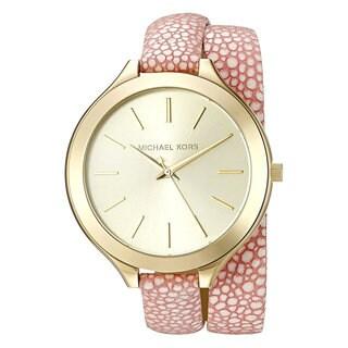 Michael Kors Women's MK2476 'Slim Runway' Wraparound Strap Pink Leather Watch