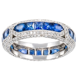 Platinum 1 3/4ct TDW Diamond and Sapphire Estate Band Ring (H-I, SI1-SI2)