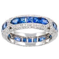 Platinum 1 3/4ct TDW Diamond and Sapphire Estate Band Ring (H-I, SI1-SI2)