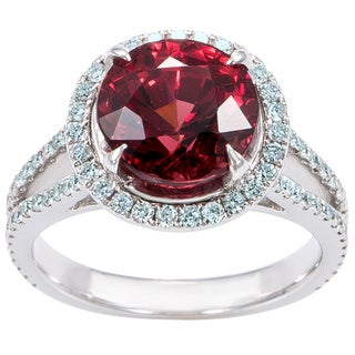 18k White Gold 3/4ct TDW Diamond and Red Spinel Halo Estate Ring (H-I, SI1-SI2)