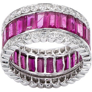 18K White Gold 1 1/3ct TDW Diamonds and Ruby Ring Stacking Eternity Ring Set (H-I, SI1-SI2)
