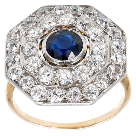 Platinum and 18k Yellow Gold 2ct Diamonds Sapphire Octagon Top Estate Ring